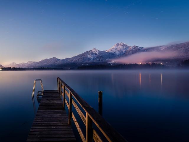 Abendstimmung Faaker See im Winter